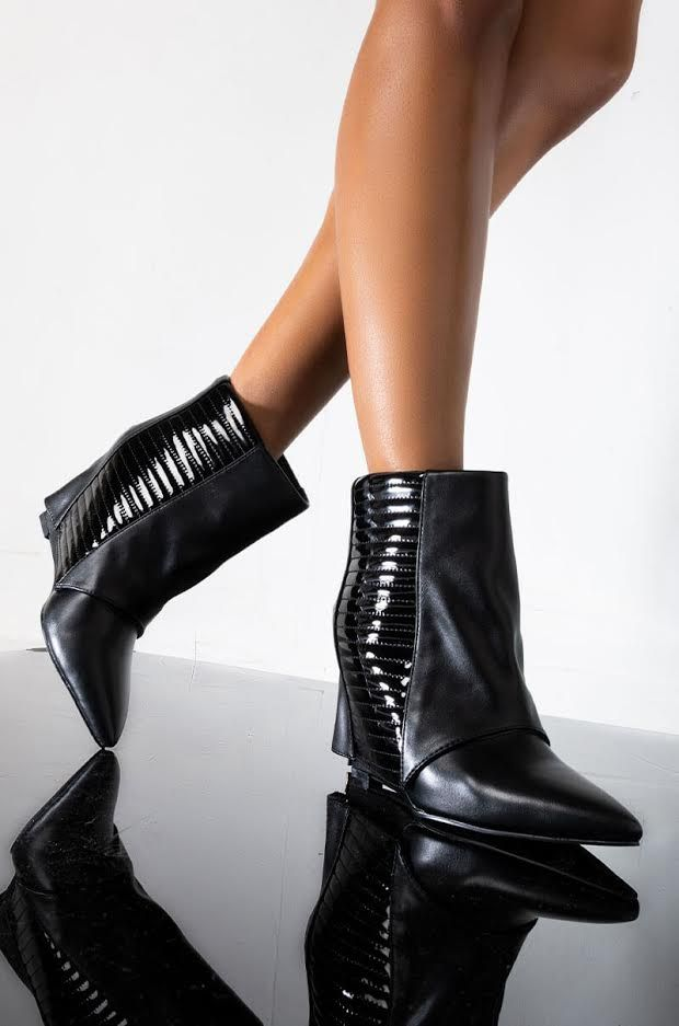 Front View Azalea Wang Never A Bad Idea Wedge Bootie In Black in Black Pu