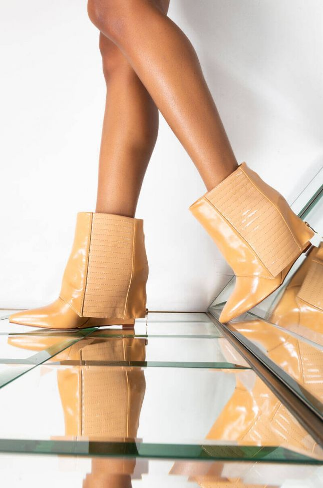 Front View Azalea Wang Never A Bad Idea Wedge Bootie In Nude in Nude