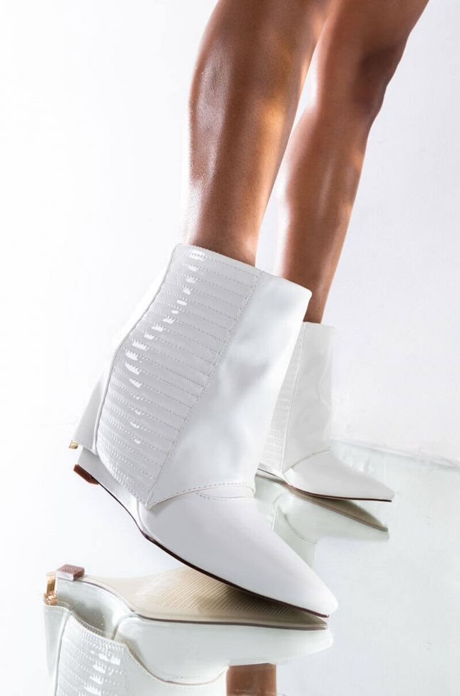 Front View Azalea Wang Never A Bad Idea Wedge Bootie In White in White
