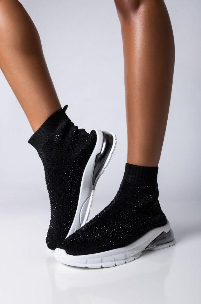 Front View Azalea Wang Never Be Like You Flatform Sneaker in Black
