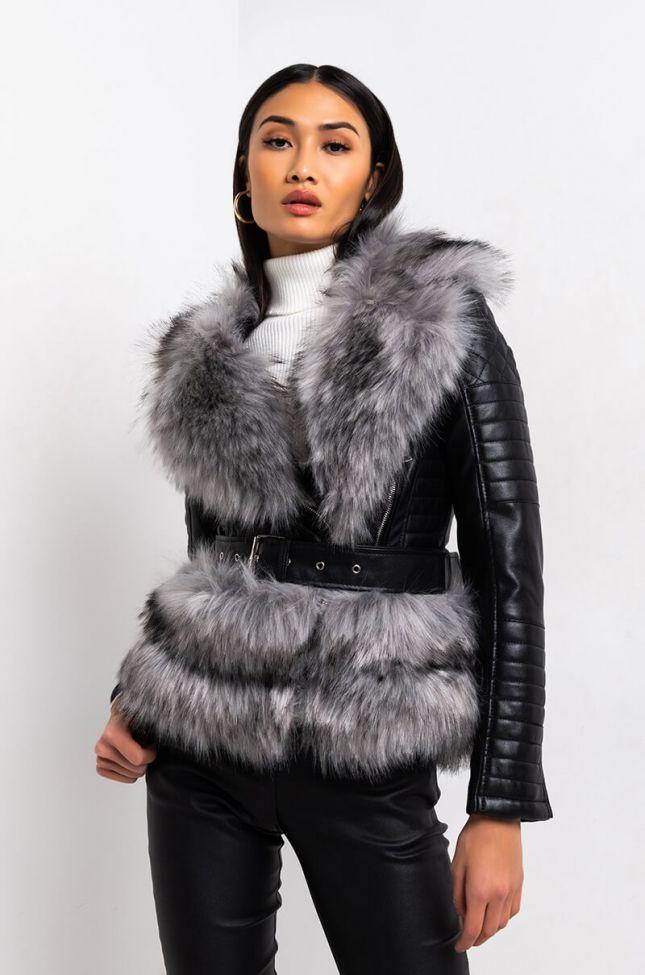 Side View Azalea Wang Never Cared Waist Lined Faux Fur Moto Jacket in Charcoal