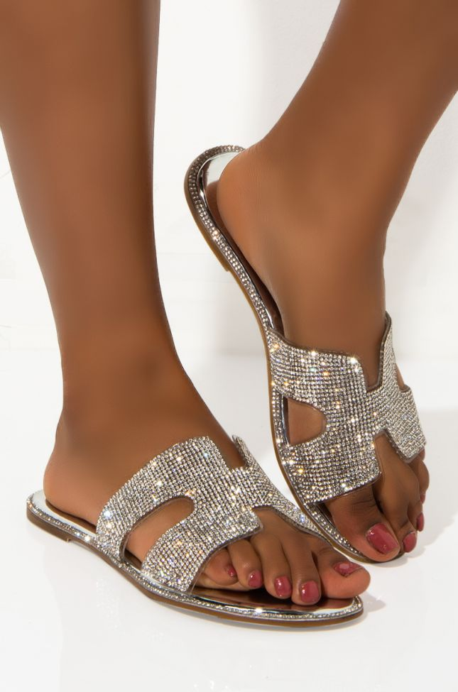 Side View Azalea Wang Never On Time For Anything Slip On Flat in Silver