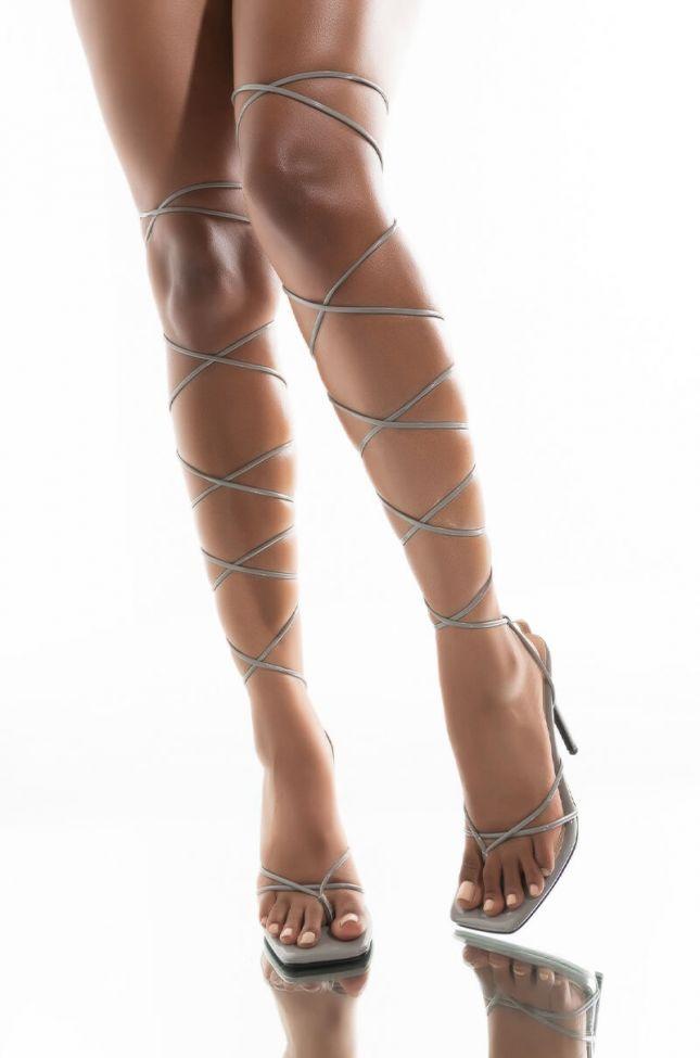 Front View Azalea Wang Nights In Miami Stiletto Sandal In Grey