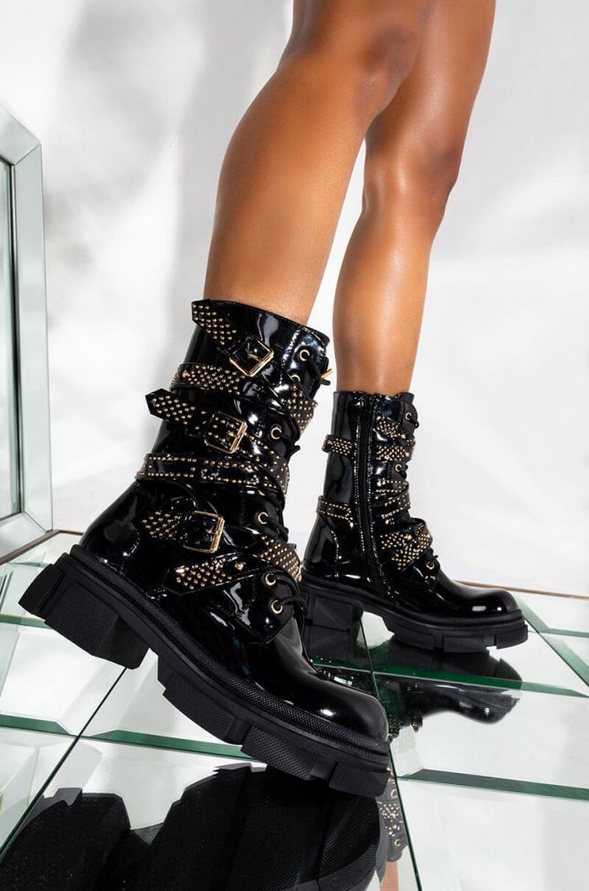 Front View Azalea Wang One Good Reason To Stay Flat Bootie In Black Patent in Black Patent