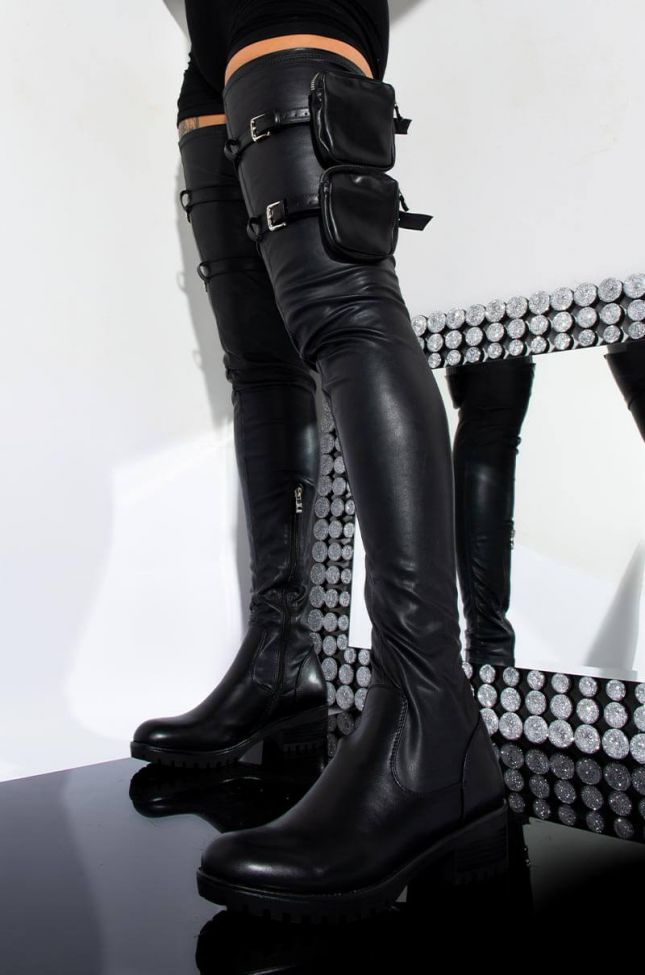 Front View Azalea Wang One Step Ahead Of You Thigh High Flat Boot in Black Pu