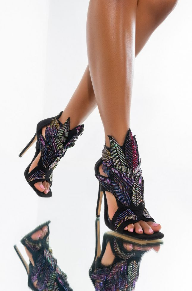 Front View Azalea Wang Out All Night Stiletto Sandal In Multi