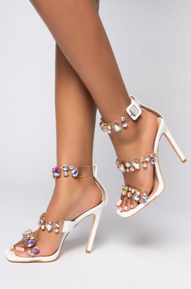 Front View Azalea Wang Own It Baby Stiletto Sandal In White in White