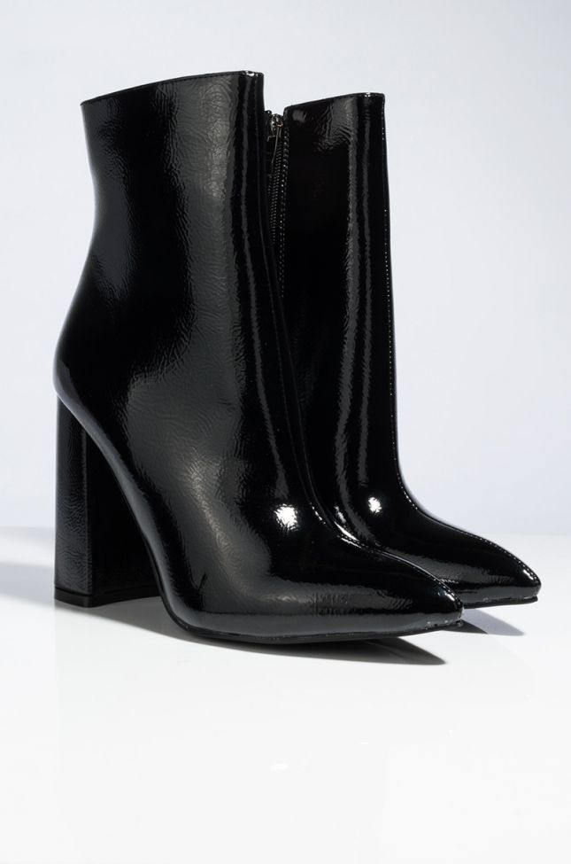 AZALEA WANG SPACE IS THE PLACE PATENT CHUNKY HEEL BOOTIE