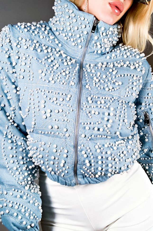 Detail View Azalea Wang Pearl Stitched Dream Denim Puffer in Light Blue Denim