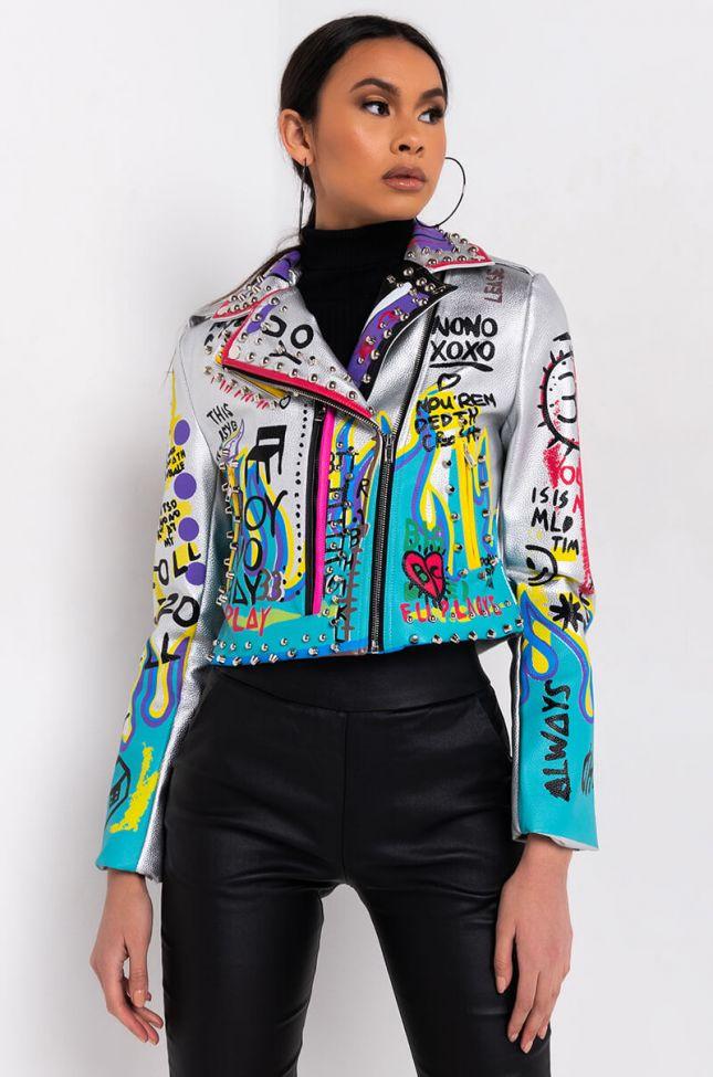 Side View Azalea Wang Phoenix Rising Moto Patch Jacket in Silver