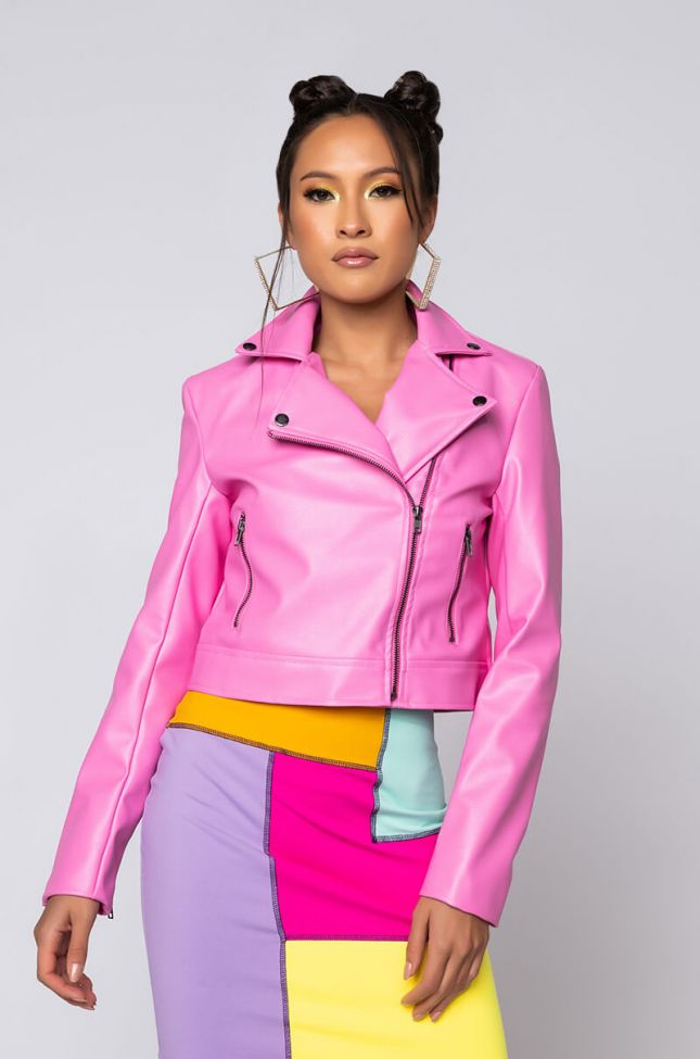 Front View Azalea Wang Pink Ladies Fitted Moto Jacket in Pink