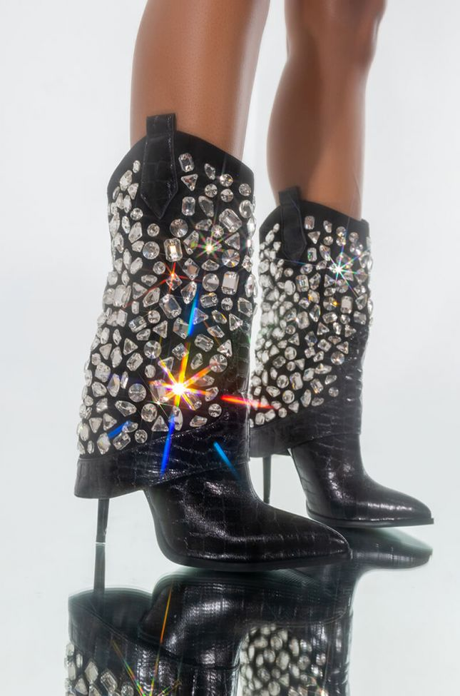 Front View Azalea Wang Played You Like A Game Rhinestone Studded Stiletto Bootie In Black