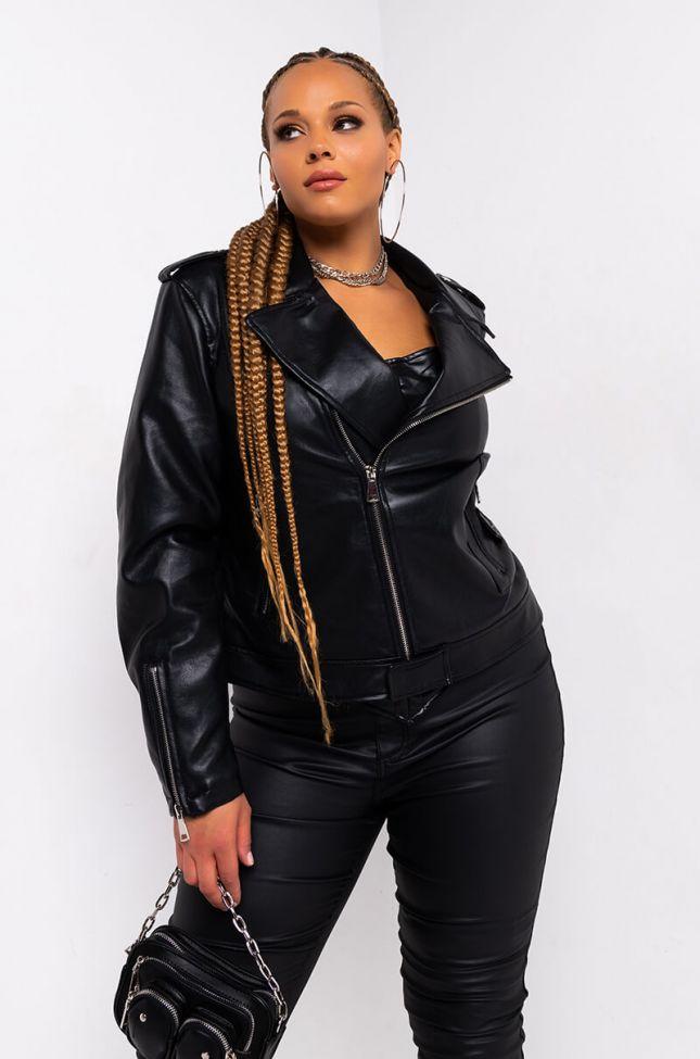 Side View Azalea Wang Plus Aussy Basic Moto Jacket in Black