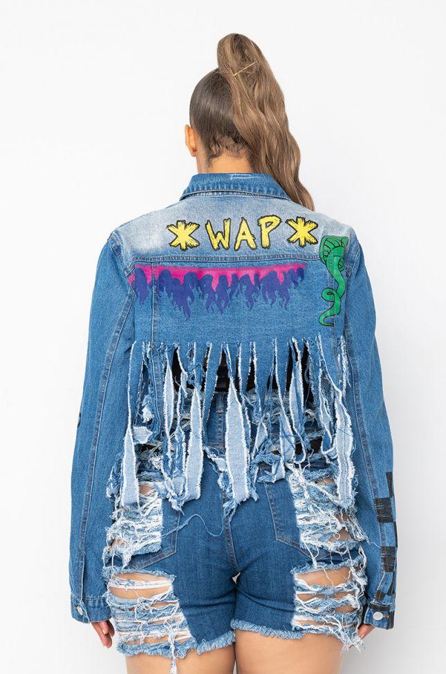 Extra View Azalea Wang Plus Wap Ultra Cropped Distressed Denim Jacket