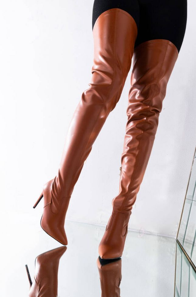Front View Azalea Wang Ready Or Not Thigh High Stiletto Boot In Nude Brown in Brown
