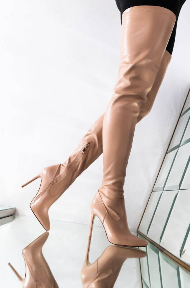 Front View Azalea Wang Ready Or Not Thigh High Stiletto Boot In Nude in Nude