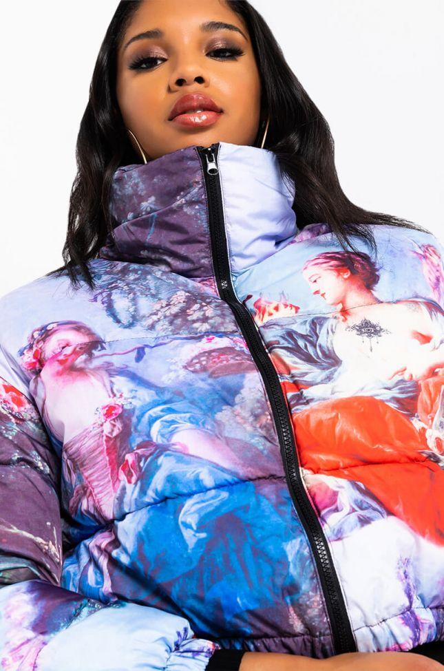 Side View Azalea Wang Renn Art Multi Puffer Jacket in Blue Multi