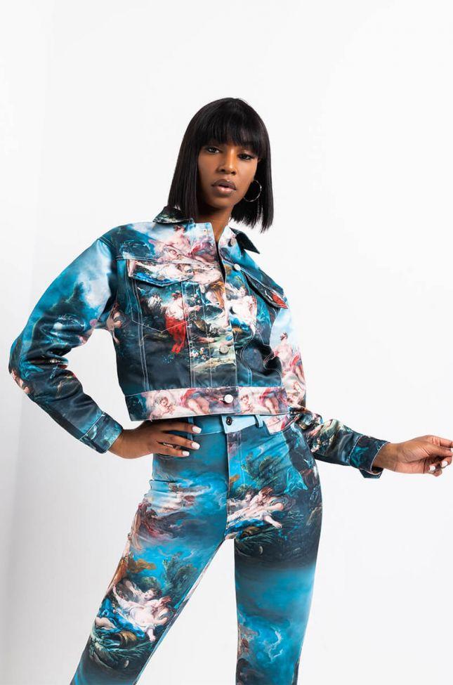 Side View Azalea Wang Renn Oversize Crop Jacket in Blue Multi