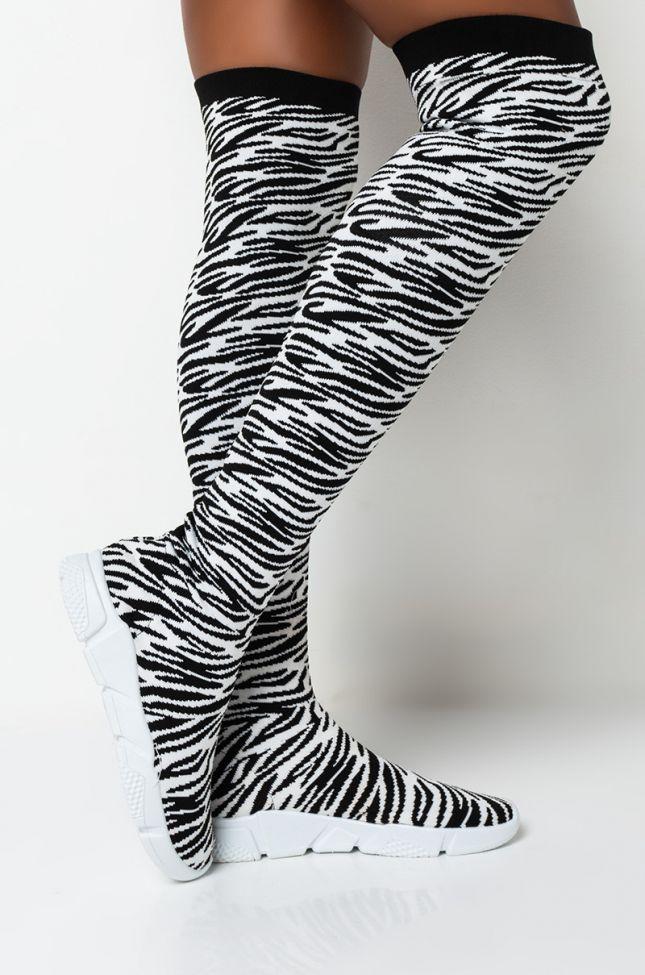 Front View Azalea Wang Risk Taker Flat Sneaker Boot In Zebra in Zebra