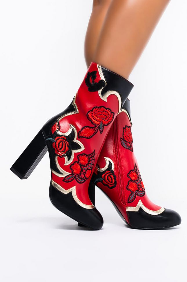 AZALEA WANG ROSES ARE RED CHUNKY HEEL BOOTIE IN RED