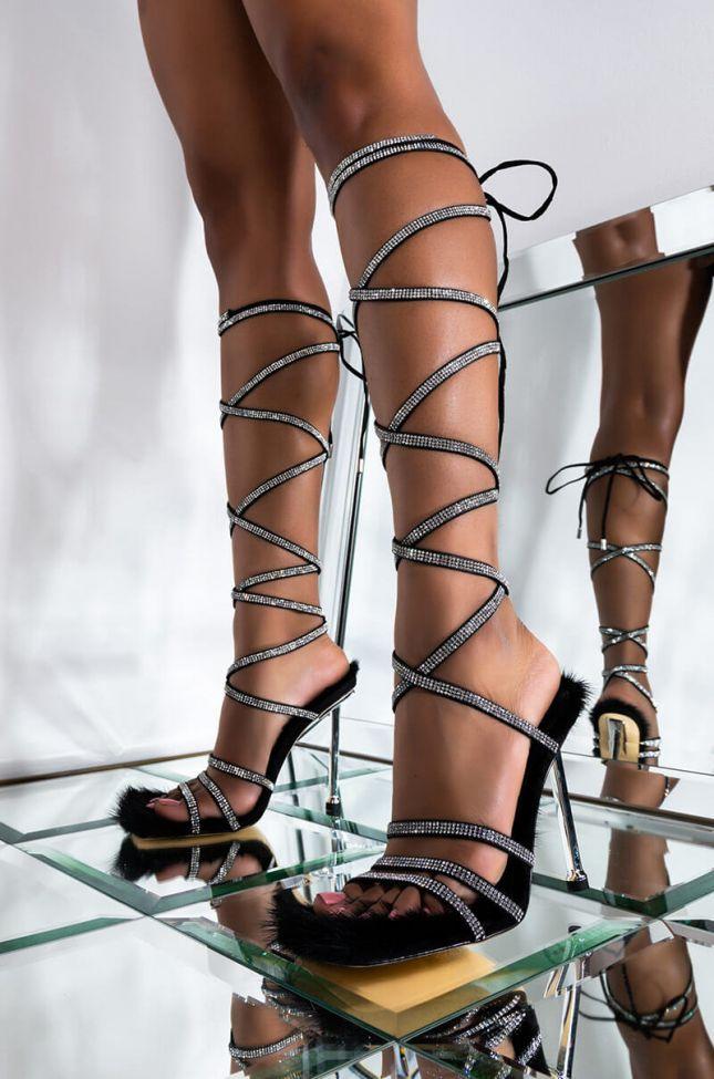 Front View Azalea Wang Sassy Is The New Attitude Stiletto Sandal In Black in Black