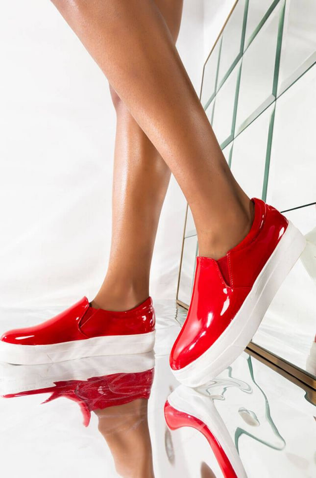 Front View Azalea Wang Say No More Flat Sneaker In Red Patent in Red Patent
