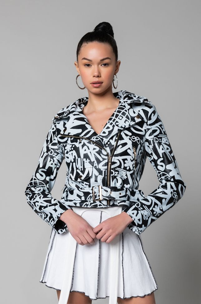 Side View Azalea Wang Scribble War Moto Jacket in Black White