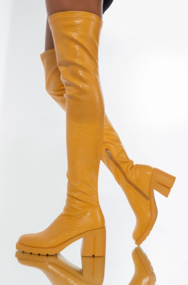 AZALEA WANG SEE ME IN YOUR DREAMS CHUNKY BOOT IN YELLOW