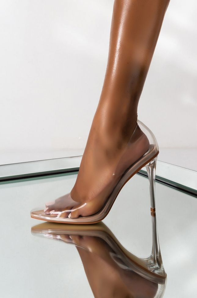 Side View Azalea Wang See Through All The Way Pvc Clear Sexy Heels  in Nude