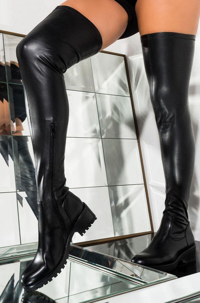 Front View Azalea Wang Serendipity Knee High Flat Boot in Black Pu