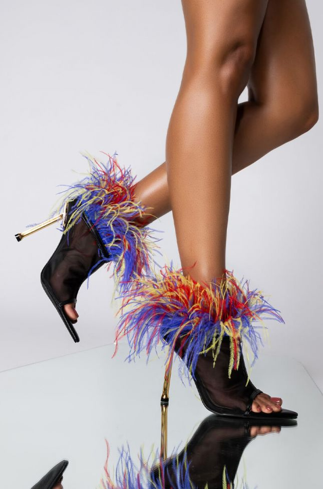 Front View Azalea Wang Shake Your Feathers Stiletto Bootie In Multi in Multi