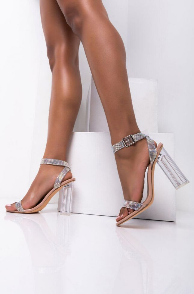 Front View Azalea Wang Shine On Babe Chunky Sandal In Nude in Nude