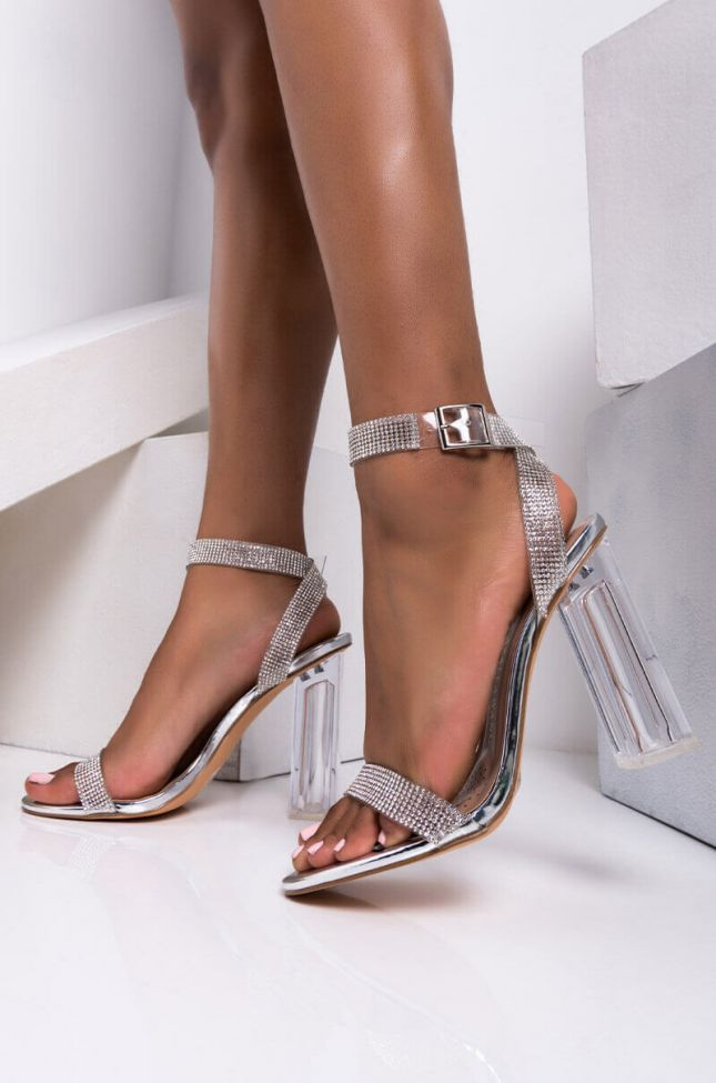 Front View Azalea Wang Shine On Babe Chunky Sandal In Silver in Silver
