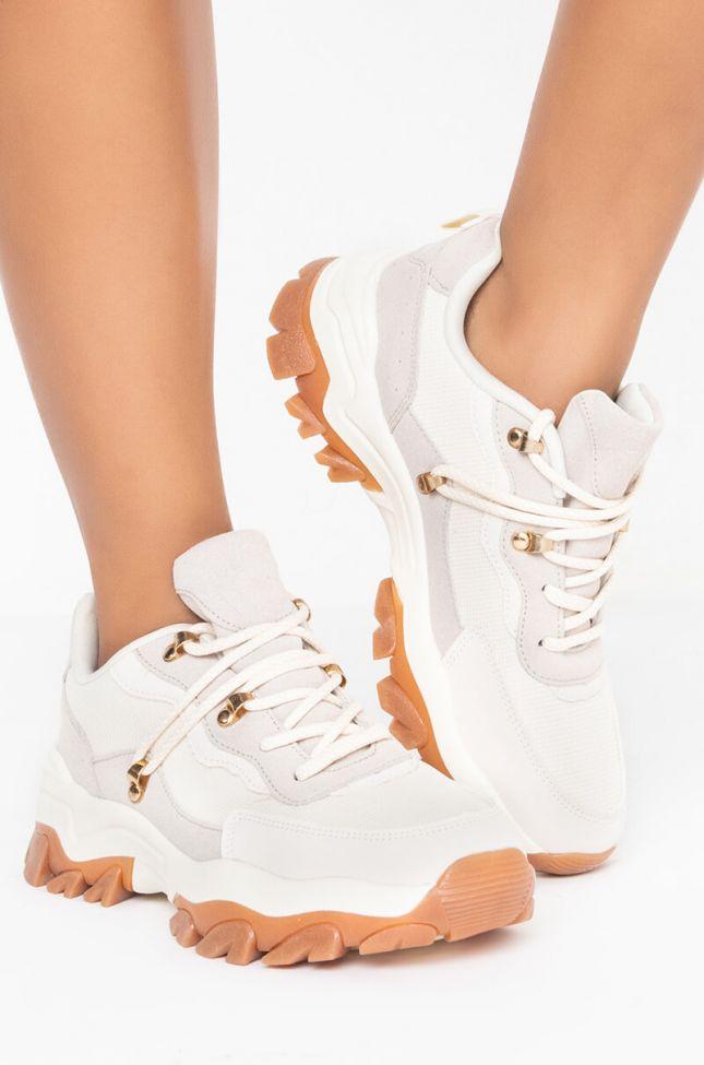 Side View Azalea Wang Show Me Love Flat Sneaker In Beige