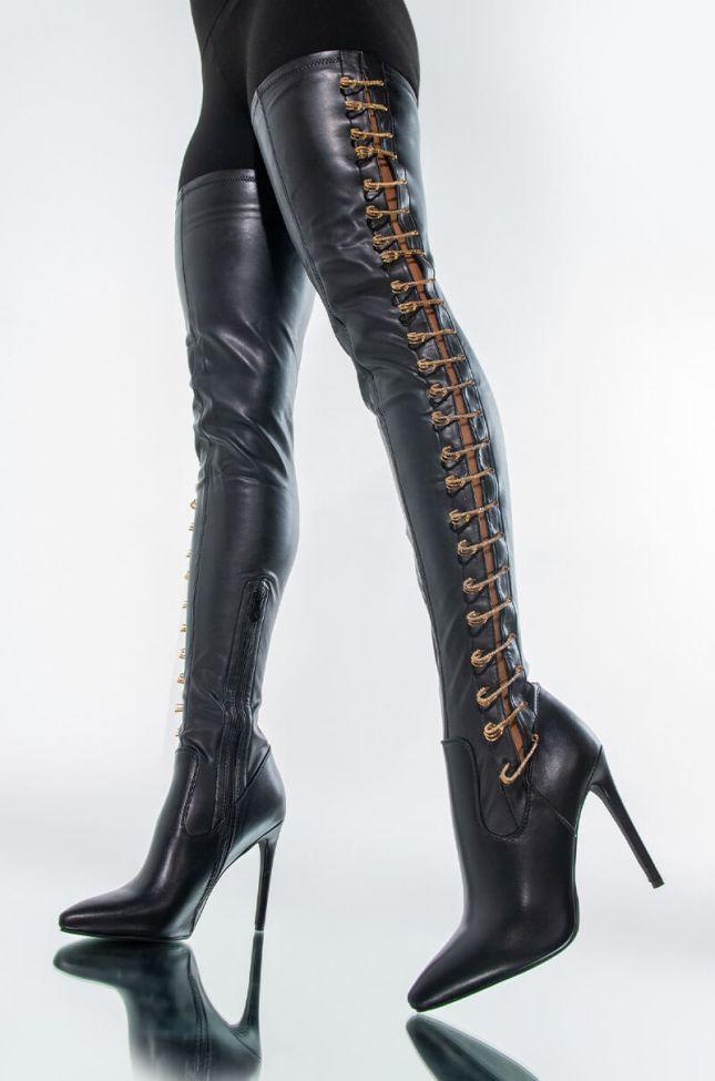 Front View Azalea Wang Shut The Club Down Stiletto Boot In Black