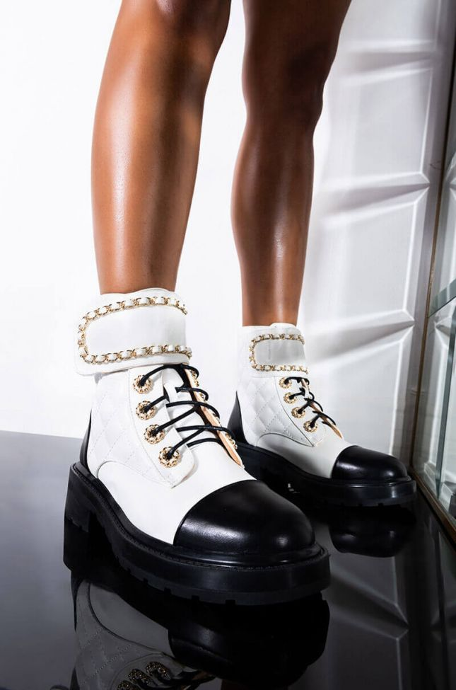 Front View Azalea Wang Simple Yet Classy Flat Bootie In White in White