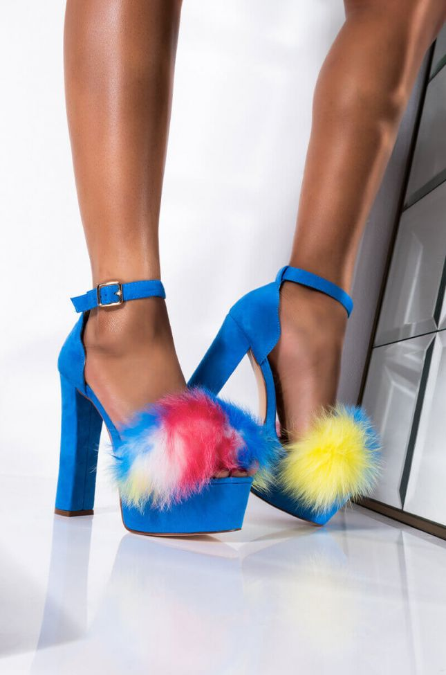 Front View Azalea Wang Single And Ready To Mingle Sandal In Blue Multi in Blue Suede