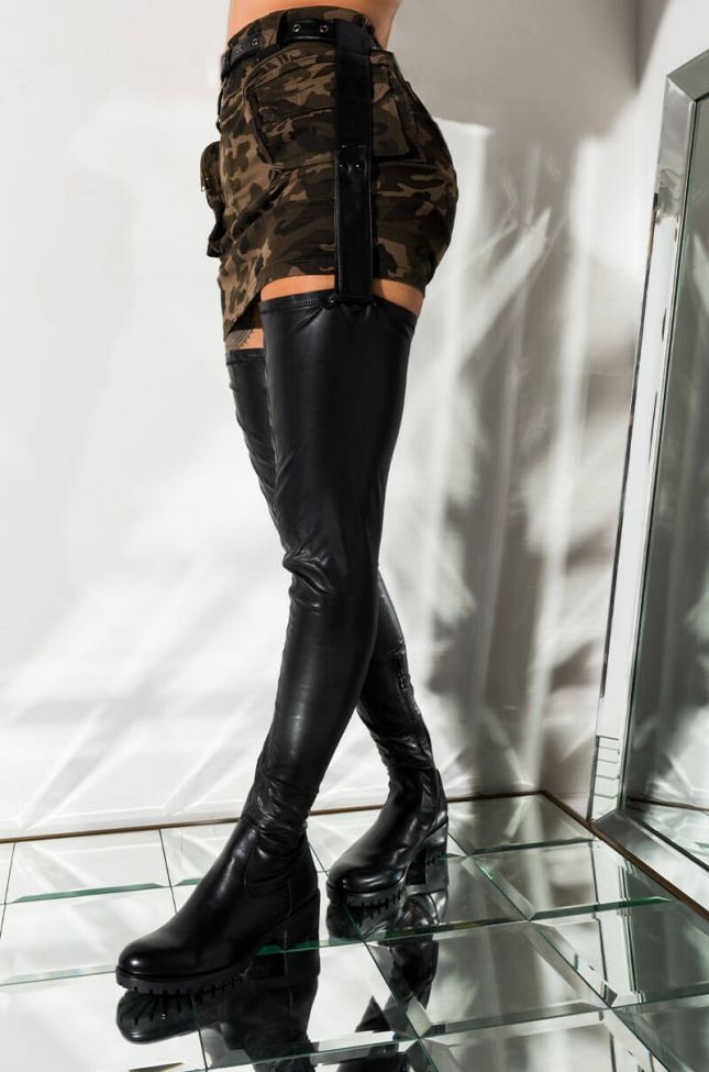 Front View Azalea Wang Smitten Over You Detachable Belt Thigh High Flat Boot  in Black Pu