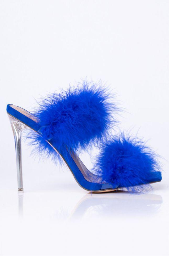 Back View Azalea Wang So Fluffy Ima Die Stiletto Sandal In Blue in Blue