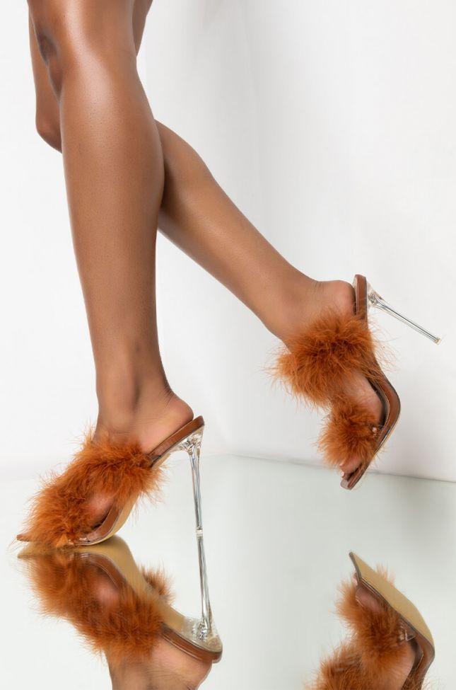 Front View Azalea Wang So Fluffy Ima Die Stiletto Sandal In Brown in Brown