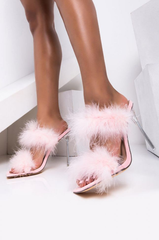 Front View Azalea Wang So Fluffy Ima Die Stiletto Sandal In Pink in Pink
