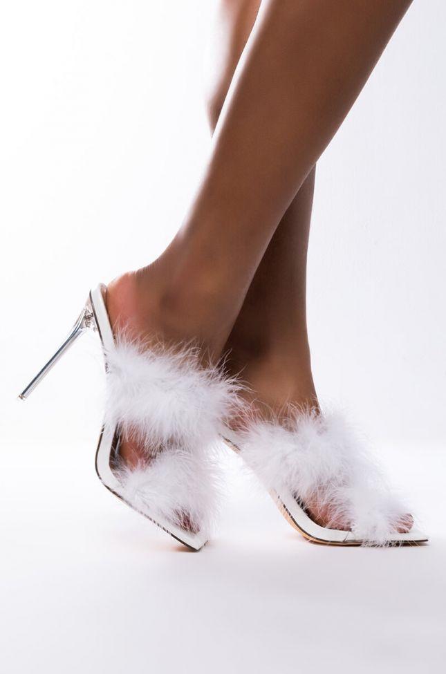 Side View Azalea Wang So Fluffy Ima Die Stiletto Sandal In White in White