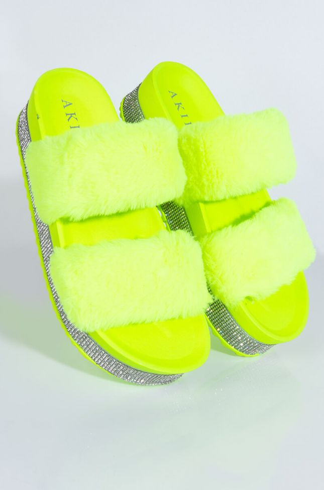 Front View Azalea Wang So Icey Flatform Sandal In Neon Lime in Neon Lime
