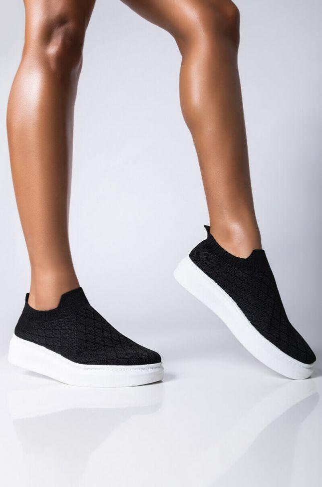 Front View Azalea Wang Stay Here Forever Flat Sneaker In Black in Black
