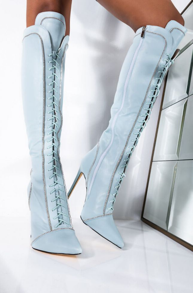 Front View Azalea Wang Stop The Drama Stiletto Boot In Blue in Blue