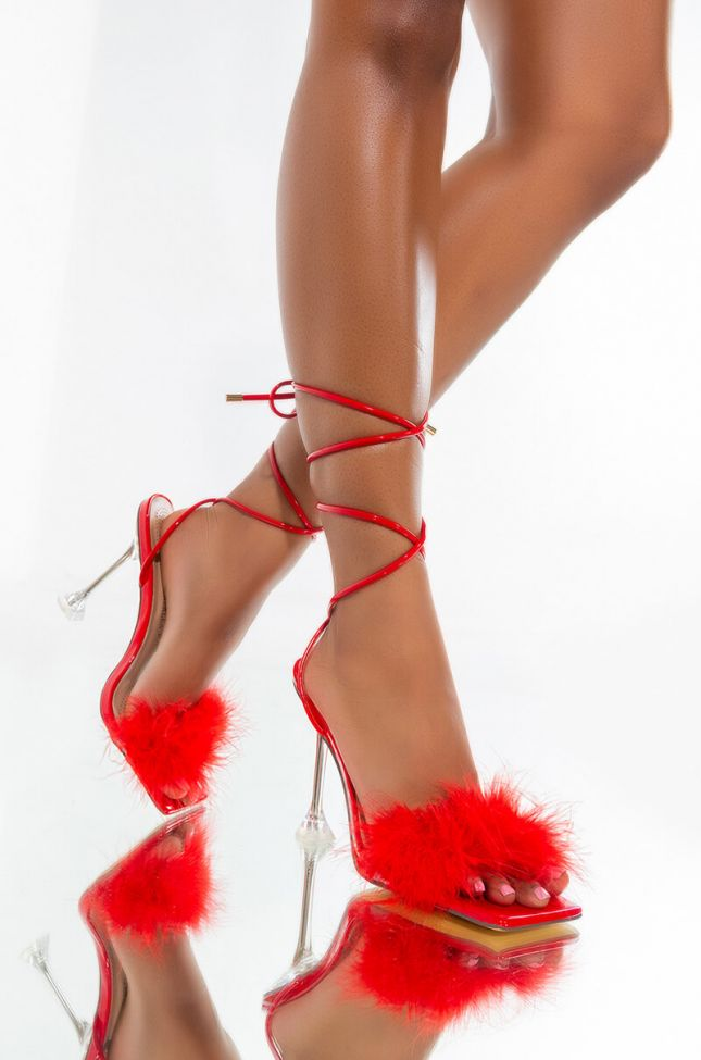 Front View Azalea Wang Stuck On Replay Sandal In Red