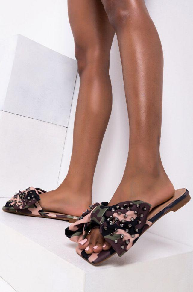 Front View Azalea Wang Stuck On You Flat Sandal In Camo in Camo