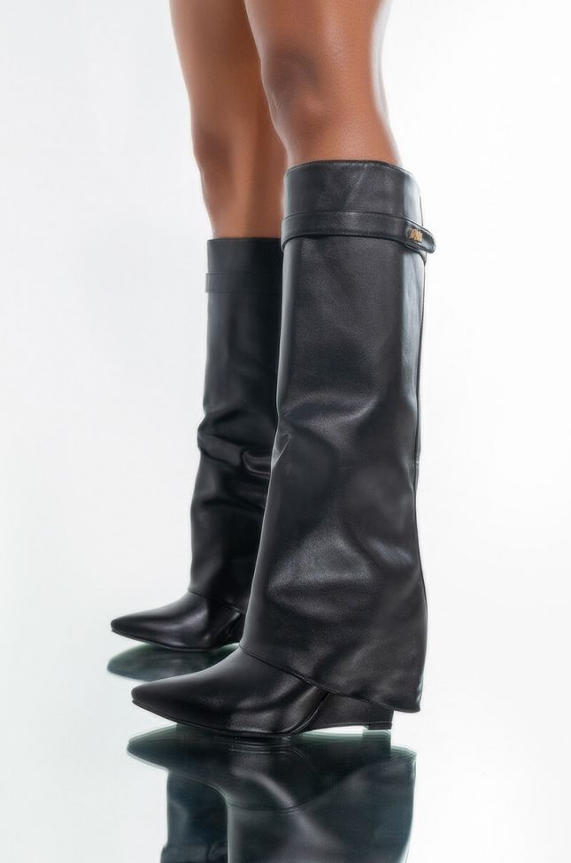 Front View Azalea Wang Stuck On You Wedge Boot In Black