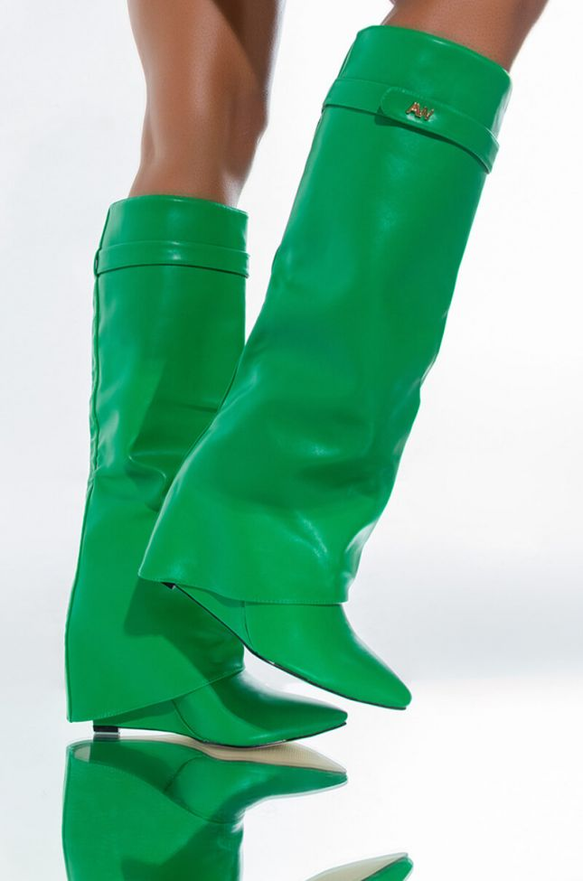 Front View Azalea Wang Stuck On You Wedge Boot In Green