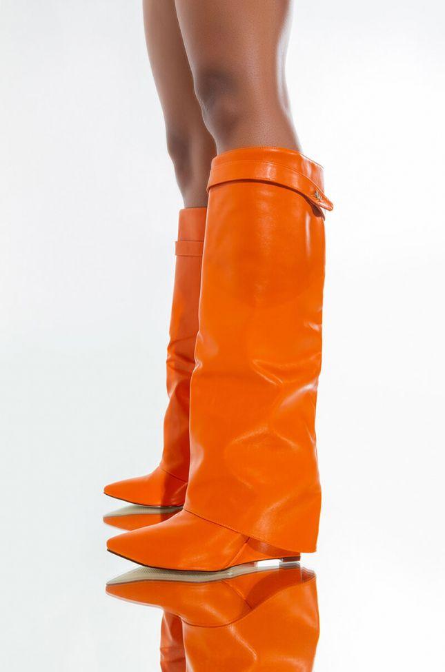 Front View Azalea Wang Stuck On You Wedge Boot In Orange